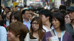Crowd in Seoul Street Stock Footage