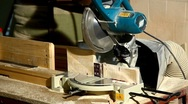 Stock Video Footage of circular saw cut a part of wood detail
