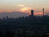 Stock Video Footage of Joburg Skyline and Ellis Park at Sunset 2004, GFSD