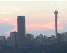 Joburg Skyline at Sunset 2004 Zoom 6fps, GFSD Stock Footage