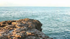 Ocean Sea from the rocks - stock footage