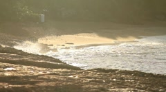 Stock Video Footage of Water waves breaking in sand on the beach