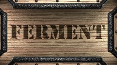 Ferment on wooden stamp Stock Footage