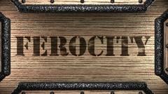 Ferocity on wooden stamp Stock Footage