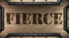 fierce on wooden stamp - stock footage