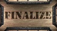 Finalize on wooden stamp Stock Footage