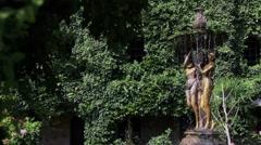 Fountain in garden - stock footage