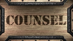 counsel on wooden stamp - stock footage