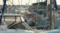 Moored yacht at port HD Footage