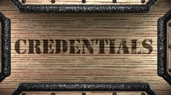 Credentials on wooden stamp Stock Footage