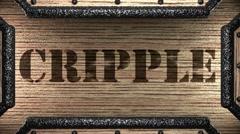 cripple on wooden stamp - stock footage