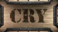 Cry on wooden stamp Stock Footage