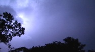 Stock Video Footage of Blue Tropical Jungle Thunderstorm cloud to cloud lightning 16x9