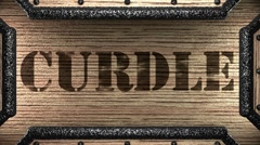 Curdle on wooden stamp Stock Footage