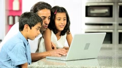 Asian Father & Children Using Laptop Stock Footage