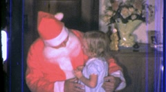 SANTA and GIRL Sitting on Lap Christmas 1960s Vintage Film Home Movie 707 - stock footage