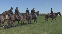 Stock Footage - Union Cavalry pass - great colors - blue sky Stock Footage