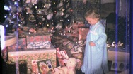 LITTLE Xmas GIRL WITH CHRISTMAS PRESENTS 1960s Vintage Old Film Home Movie 710 Stock Footage