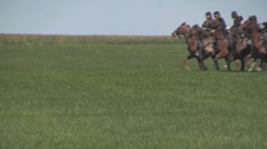 Stock Footage - Union Calvary charge in field, corn in background Stock Footage
