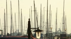 Moored yacht at port Stock Footage