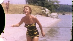 Attractive Slim Middle Aged Woman At the Beach 1950s Vintage Film Home Movie 721 Stock Footage