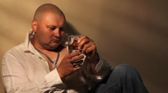 Man drinking whisky Stock Footage