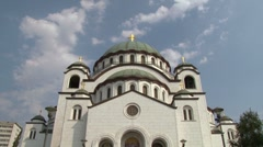 Belgrade, Temple of St Sava - zoom out Stock Footage