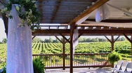 Stock Video Footage of wedding ceremony decorations overlooking vineyard
