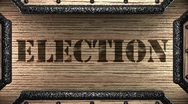 Election on wooden stamp Stock Footage