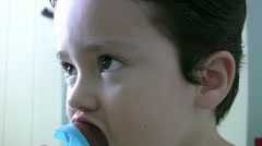 Little boy eating ice cream Stock Footage