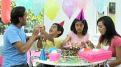 Young Ethnic Girl Enjoying Birthday Celebration Stock Footage