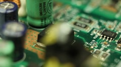 Parallel Electronics Parts On A Real Circuit Main Board Energy Hi Tech Science Stock Footage