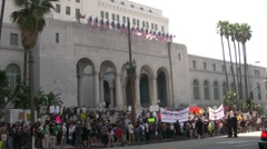 Protesters at City Hall - Occupy Los Angeles - stock footage