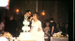 CUTTING WEDDING CAKE Bride and Groom CEREMONY 1960 Vintage Film Home Movie 723 Stock Footage