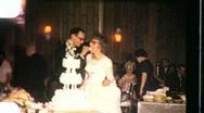 CUTTING WEDDING CAKE Bride and Groom CEREMONY 1960 Vintage Film Home Movie 723 Stock Footage