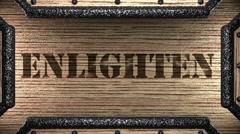 Enlighten on wooden stamp Stock Footage