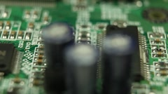Extreme Close Up Pan Detail Electronic Hardware Board Printed Cells Connecting - stock footage