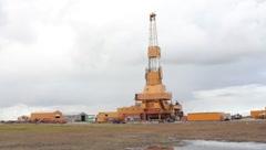 Oil drill in Prudhoe Bay Alaska (HD) c - stock footage