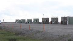 Oil wells in Prudhoe Bay Alaska (HD) c - stock footage
