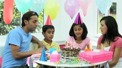 Young Asian Family Birthday Celebrations Stock Footage