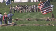 Stock Footage - Confederate forces advancing into gunfire - US Flag # 2 - stock footage