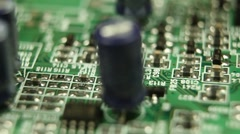 Extreme Close Up Pan Computer Mother Board System Semiconductors New Transistors - stock footage