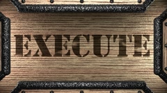 Execute on wooden stamp Stock Footage