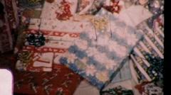 Xmas Christmas Presents Under Tree 1950s Vintage Film Home Movie 728 - stock footage