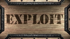 exploit on wooden stamp - stock footage