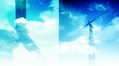 Wind energy clean clout split screen Stock Footage
