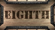 Eighth on wooden stamp Stock Footage