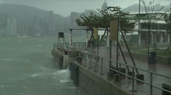 Rough Seas During Tropical Storm In Hong Kong Stock Footage