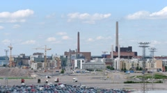 Big factory in Helsinki on sunny day, time lapse Stock Footage