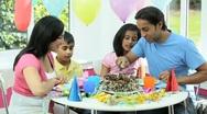 Young Asian Children Enjoying Birthday Cake Stock Footage